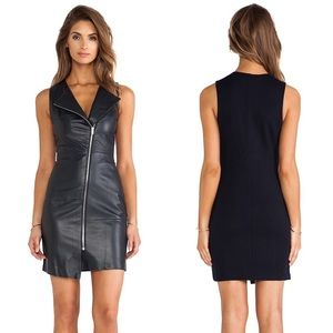 🆕 Bailey 44 Navy Genuine Leather Front Moto Dress
